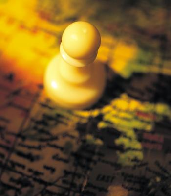 Chess piece on map