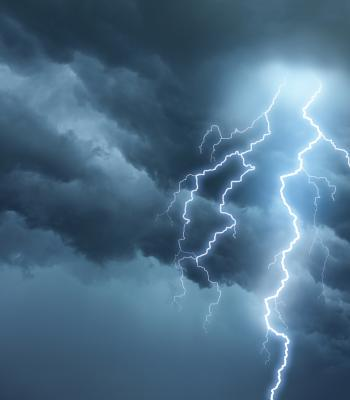 Storm clouds and lightening bolts