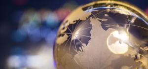 Globe with light reflecting